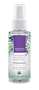 Nutiva Organic Coconut Body Oil Lavender, 3.4-ounce