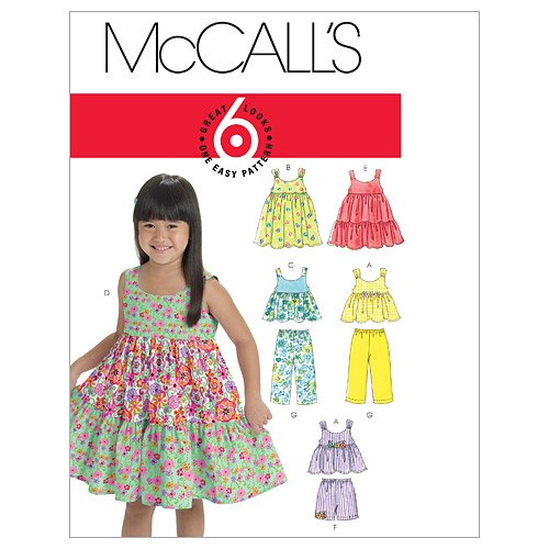 McCall's Patterns M6017 Toddlers'/Children's Tops, Dresses, Shorts And Pants, Size CB (1-2-3)