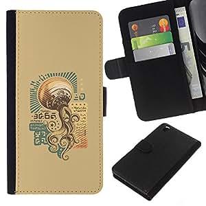 LECELL--Cuero de la tarjeta la carpeta del tirón Smartphone Slots Protección Holder For HTC DESIRE 816 -- Steam Punk Vintage UFO --