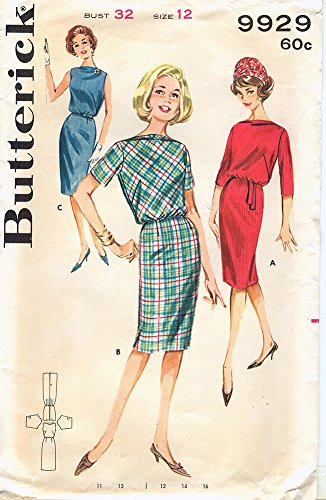 Butterick 9929 Vintage 1960s Mad Men Belted Shift Dress with Crushed Bateau Neckline Pattern B32 (Belted Cocktail Mod)