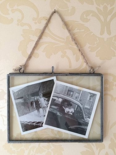Antique Silver Metal & Glass Hanging Photo Frame Vintage Style 5