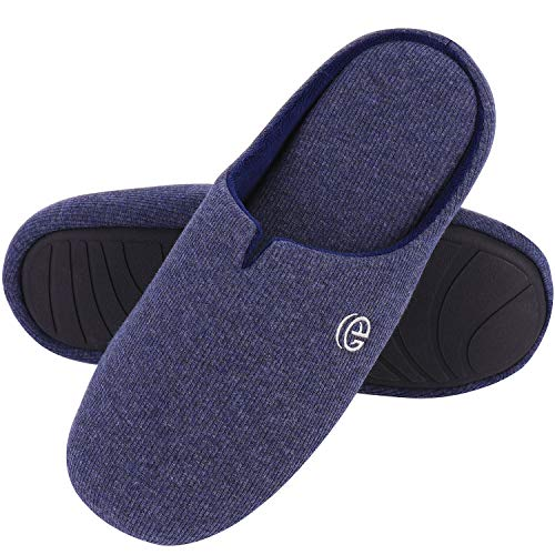 Men's Comfort Cotton Knit Memory Foam Slippers Light Weight Terry Cloth House Shoes w/Anti-Skid Rubber Sole (9-10 M US, Navy Blue)