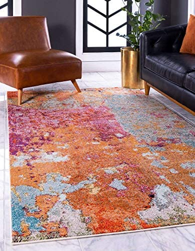 Unique Loom Chromatic Collection Abstract Over-Dyed Multi Area Rug 9' 0 x 12' 0