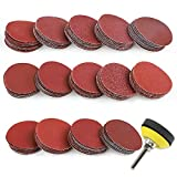 """Coceca 140PCS 2 inch Sanding Discs Pad Kit for Drill Grinder Rotary Tools with 1/4"""" Backer Plate Shank and Soft Foam Buffering PadSandpapers Includes 60-3000 Grit (140 pcs)"""