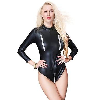 f37b81e42b1 Womens Ladies Bodysuit Longsleeve Leotard Top Jumpsuit Faux Leather Romper  Playsuit Dance Clubwear Performance Sext Catsuit
