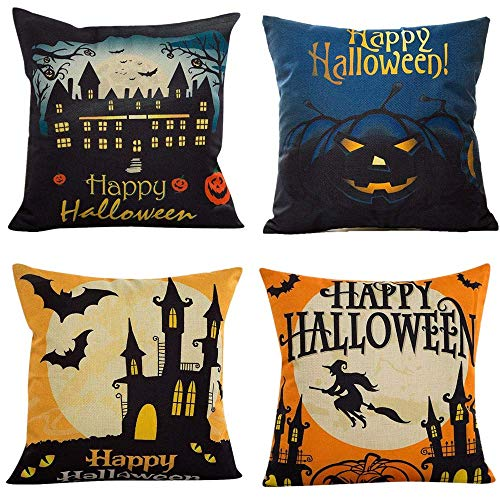 FOOZOUP Happy Halloween Pillow Covers Bat Pumpkin Cotton Linen Home Decor Cushion Cover Sofa Couch 18 x 18 inch (4 Pack) (Halloween Cover Couch)