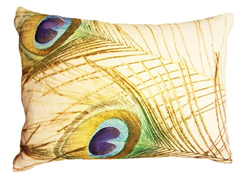 Digital Print Peacock Pillow On Linen With Down Filled Inser