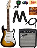 Squier by Fender Stratocaster Pack with Frontman 10G Amp, Cable, Strap, Picks, and Online Lessons - Brown Sunburst Bundle with Austin Bazaar Instructional DVD