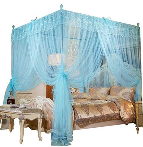 Mengersi 4 Corners Post Canopy Bed Curtain for Girls & Adults - Cute Cozy Bow Netting - 4 Opening -Princess Bedroom Decoration(Queen, Sky Blue) ()