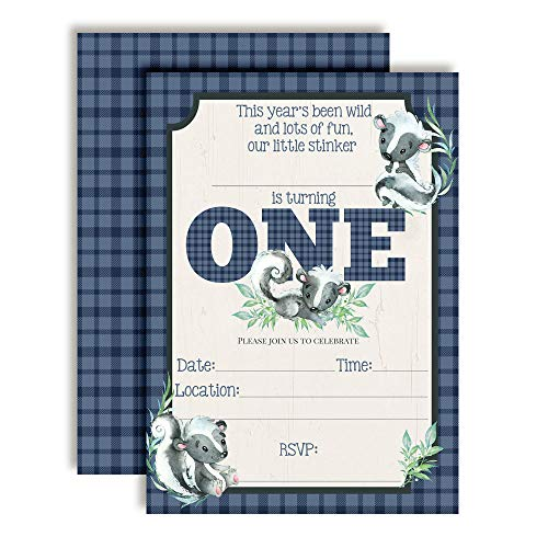 Little Stinker Cute Skunk-Themed First Birthday Party Invitations