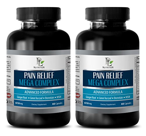pain away - PAIN RELIEF MEGA COMPLEX 610MG - green tea appetite suppressant - 2 Bottles (120 Capsules) by PL NUTRITION