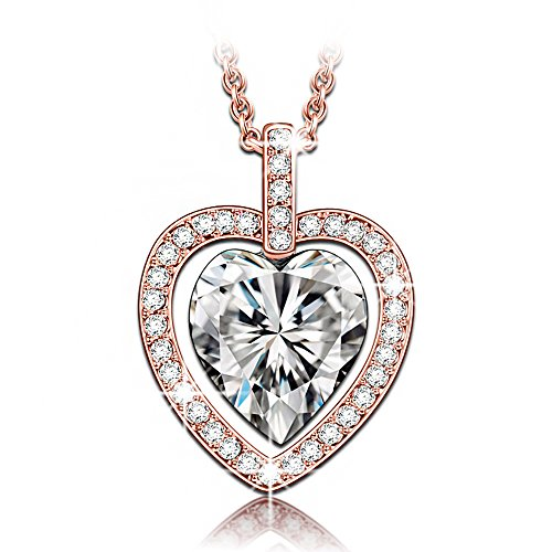 [LadyColour Double Heart Pendant Necklace Made With Swarovski Crystals, 2017 Women Fashion Heart Jewelry with Swarovski Elements Crystal Women] (Lady Law Costume)