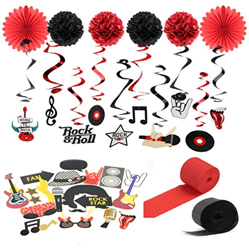 SUNBEAUTY Rock and Roll String Decoration Music Party Decoration Kit Black Red Color -