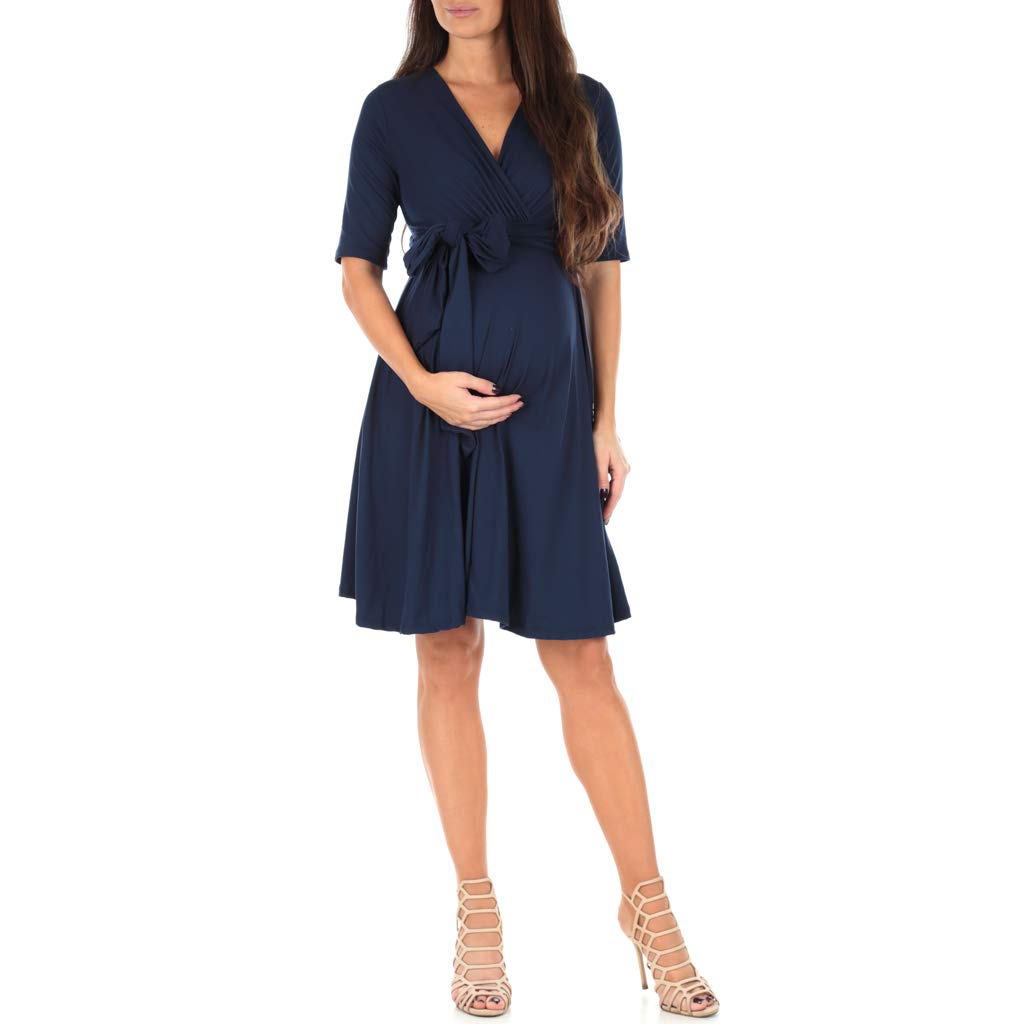 Mother Bee Women's Knee Length Wrap Dress with Belt - Made in USA Navy Large