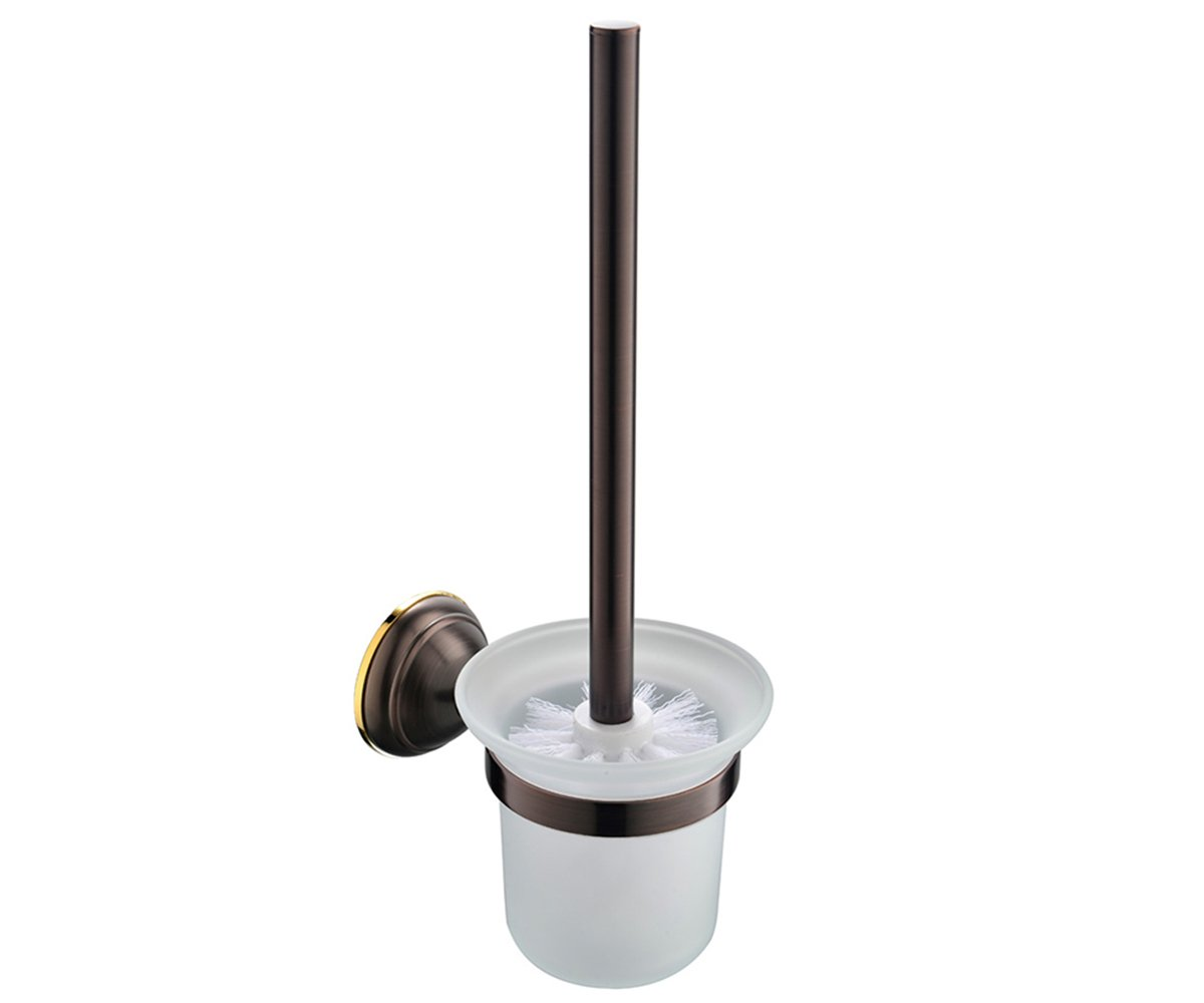 CROWN Bronze Toilet Brush and Holder Oil Rubbed Bronze Wall Mount, RUSTPROOF Solid Brass & Frosted Glass for Bathroom Storage CR205