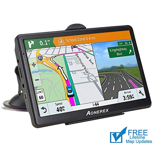 Car GPS Navigation,Spoken Turn-by-Turn Directions, Direct Access, Driver Alerts,7 inch HD GPS Navigator System with Touch Screen,Free Lifetime Maps(Pre-Installed USA+Canada+Mexico)
