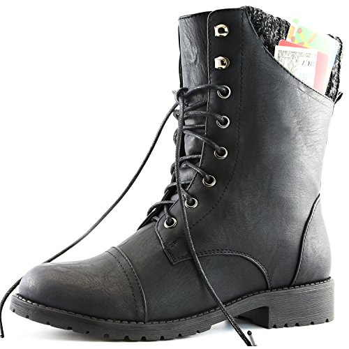 DailyShoes Womens Military Up Buckle Combat Boots Sweater Ankle High Exclusive Credit Card Pocket