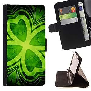 For Samsung Galaxy S5 Mini (Not S5), SM-G800 Case , Trébol de la hoja verde de Irlanda St Patrick'S- la tarjeta de Crédito Slots PU Funda de cuero Monedero caso cubierta de piel