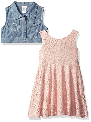 Dress Set Pink Denim - Youngland Little Girls' 2 Pc Set, Skater Dress With Denim Vest, Blush/Denim, 4