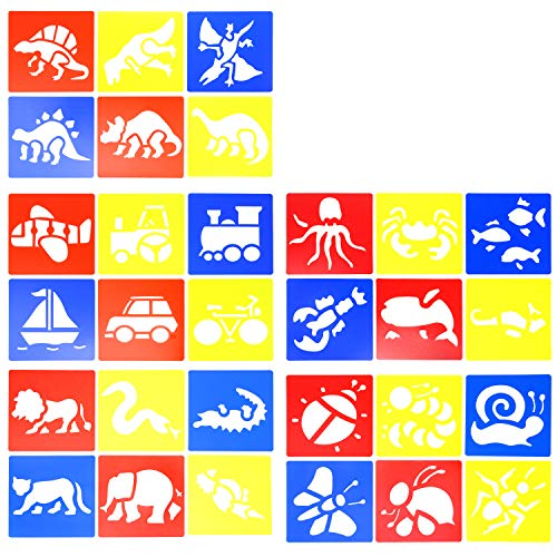 (Honbay 30PCS Plastic Painting Drawing Templates Stencils with Sea Animals Insects Mammals Dinosaur Vehicles for Kids Crafts School Projects)