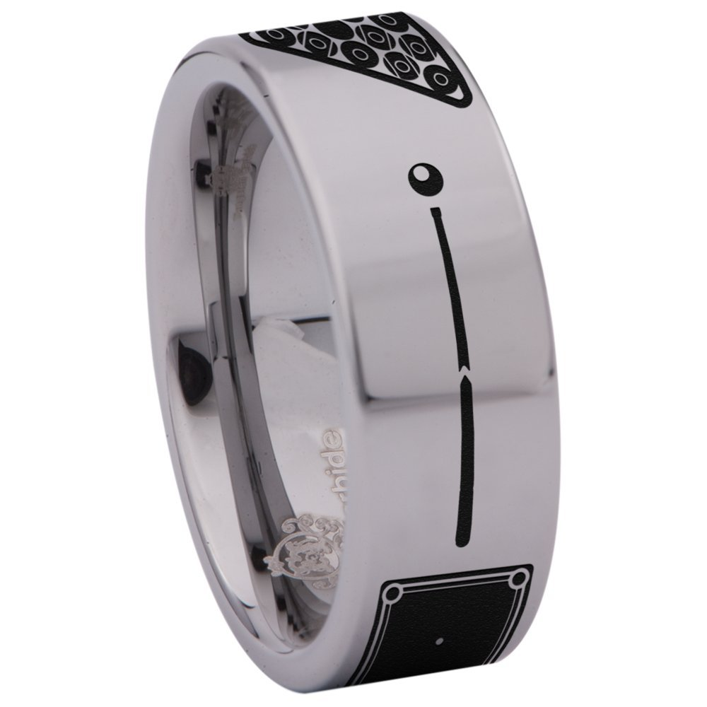 Friends of Irony Tungsten Carbide Billiards Ring Sports Inspired Wedding Band Anniversary Ring for Men and Women 8mm