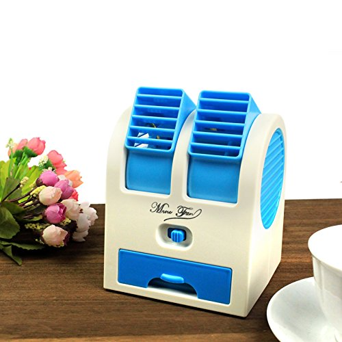 Zagmagat Practic Durable 5V 2.5W Mini Small USB Cooling Fan Cooler Portable Desktop Dual Bladeless Air Conditioner USB Cooler Fan