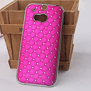 Hot Sell New Fashion Style Deluxe Bling Diamond Hard Case Cover Skin For HTC One M8 Phone (RoseRed)