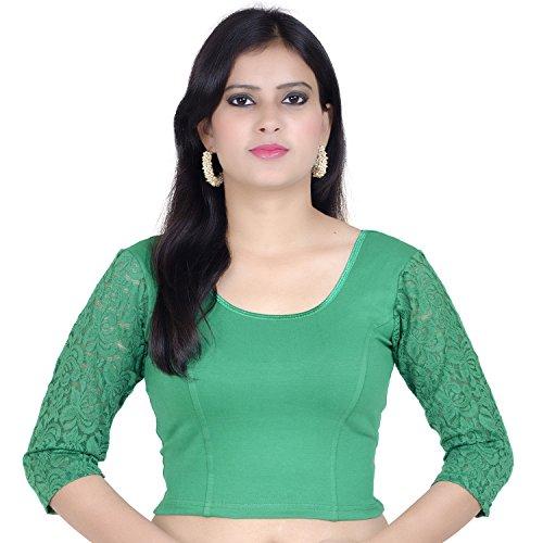 Chandrakala Womens Stretchable Readymade Green Saree Blouse Crop Top Choli (B101),Green-1,Free Size by Chandrakala