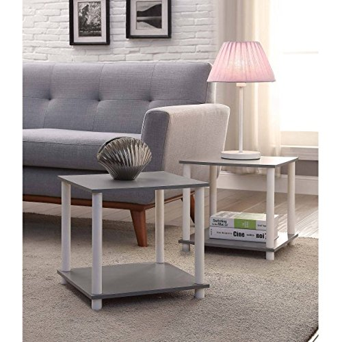 Mainstays No-Tool Assembly Cube Storage End Table, Pack of 2, Gray
