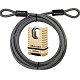 Master Lock Cable, Steel Cable With Looped Ends, 15 ft. Long, 72DPF and Includes a Master Lock (1177D)