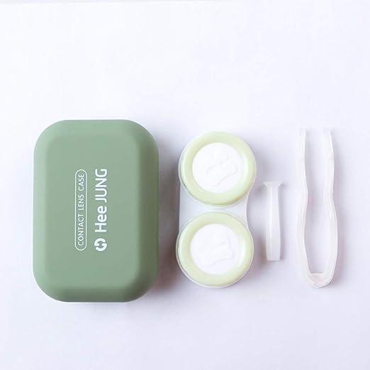 EMRE - Funda para lentes de contacto simple y elegante, estuche de lente esmerilada, portátil y simple de contacto para la caja de almacenamiento de enfermería portátil (color verde): Amazon.es: Hogar