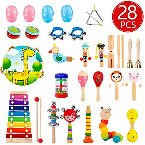 AOKIWO Kids Musical Instruments, 28Pcs 19Types Wooden Percussion Instruments Toys for Kids Children, Preschool Educational Learning Musical Toys Set for Boys Girls
