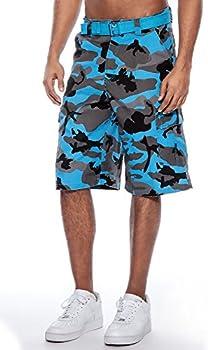True Rock Men's CAMO Belted Cargo Shorts