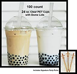 100 Sets 24 oz Plastic CLEAR Cups with Dome Lids for Iced Coffee Bubble Boba Tea Smoothie