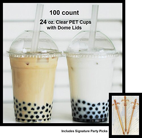 100 Sets 24 oz Plastic CLEAR Cups with Dome Lids for Iced Coffee Bubble Boba Tea Smoothie -