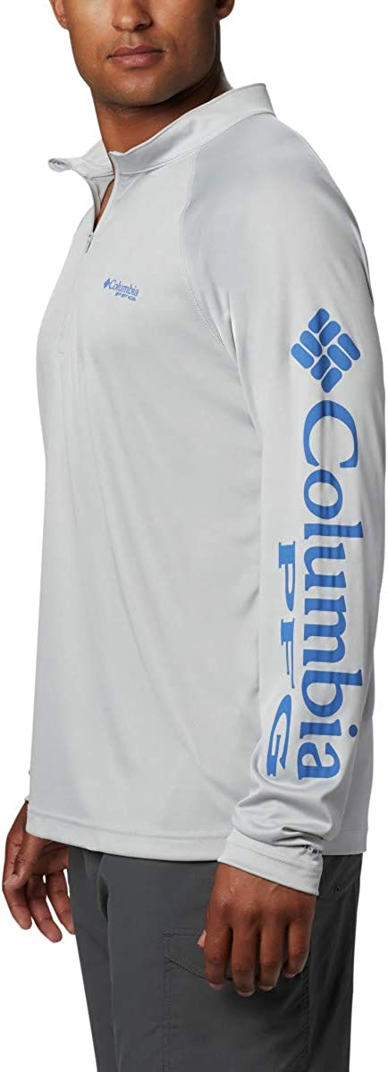 Columbia Herren Terminal Tackle 1/4 Zip Cooles Grau/Blaues Logo