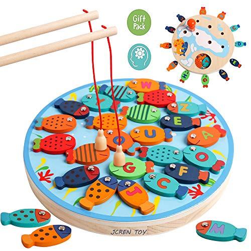 JCREN Magnetic Alphabet Magnet Letters Wooden Fishing Game Toy Set Montessori Preschool Learning Fine Motor Skills Educational Toys for Kindergarten Preschool Kids Gift ( 2 Magnet Poles) ()
