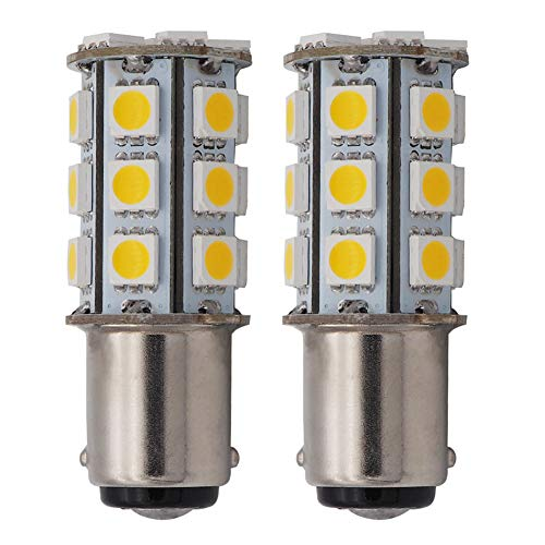 (GRV Ba15d 1142 1004 High Bright RV Car LED Bulb 24-5050SMD DC12V Warm White Pack of 2)