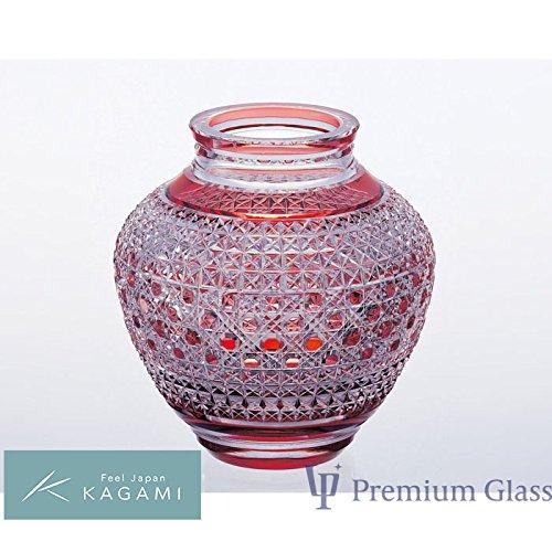 KAGAMI カガミクリスタル 江戸切子 花瓶 赤 <麻の葉に八角籠目 紋> B07DRF2XSN