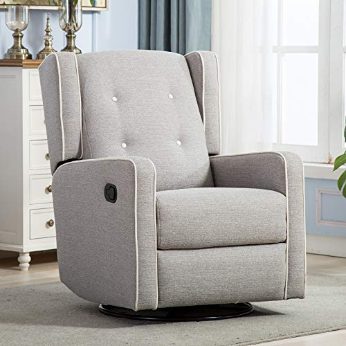 CANMOV Swivel Rocker Recliner Chair - Manual Reclining Chair, Single Seat Reclining Chair, Gray