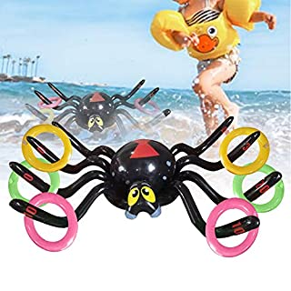 N/G Inflatable Spider Pool Ring Toss Game- Inflatable Spider Floating Swimming Pool Ring Toys for Swimming Pool Party Outdoor Indoor Ring Toss Game Perfect for Halloween Party Favor 1pcs