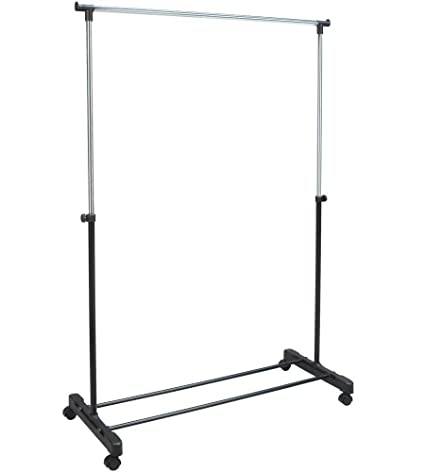 ROLLING Adjustable GARMENT Rack CLOTHES Hanging (adjusts From 32u0026quot; To  60u0026quot; ...