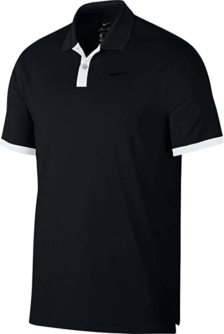 db1e47721 Image Unavailable. Image not available for. Color: Nike New DRI FIT Vapor  Solid Golf Polo Black/White Small