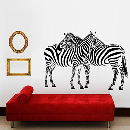 Cheap  Aiwall 9504 Huge Vinyl Wall Sticker Two Zebras Wall Decals Animal Print..