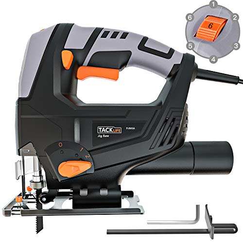 TACKLIFE Deals Week: 5Amp 3000SPM Jigsaw, Adjustable Speed (1-6 dial) & Bevel Angle (0°-45°), 118-inch Cord Length, Pure Copper Motor, Dust Extraction, Parallel Guard - PJS03A
