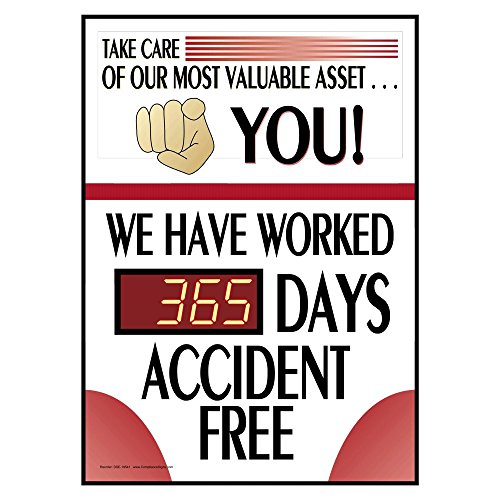 Take Care of Our Most Valuable Asset You! _ Days Accident Free Digital Safety Scoreboard, 28x20 inch PVC with Frame by ComplianceSigns.