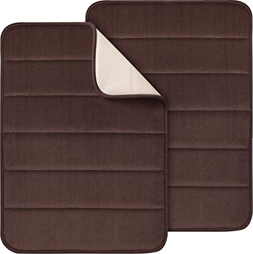 Magnificent Memory Foam Bath Mat, 2 Pack, 17 x 24 Bathroom Rugs, Non Slip Ultra Absorbent, Chocolate