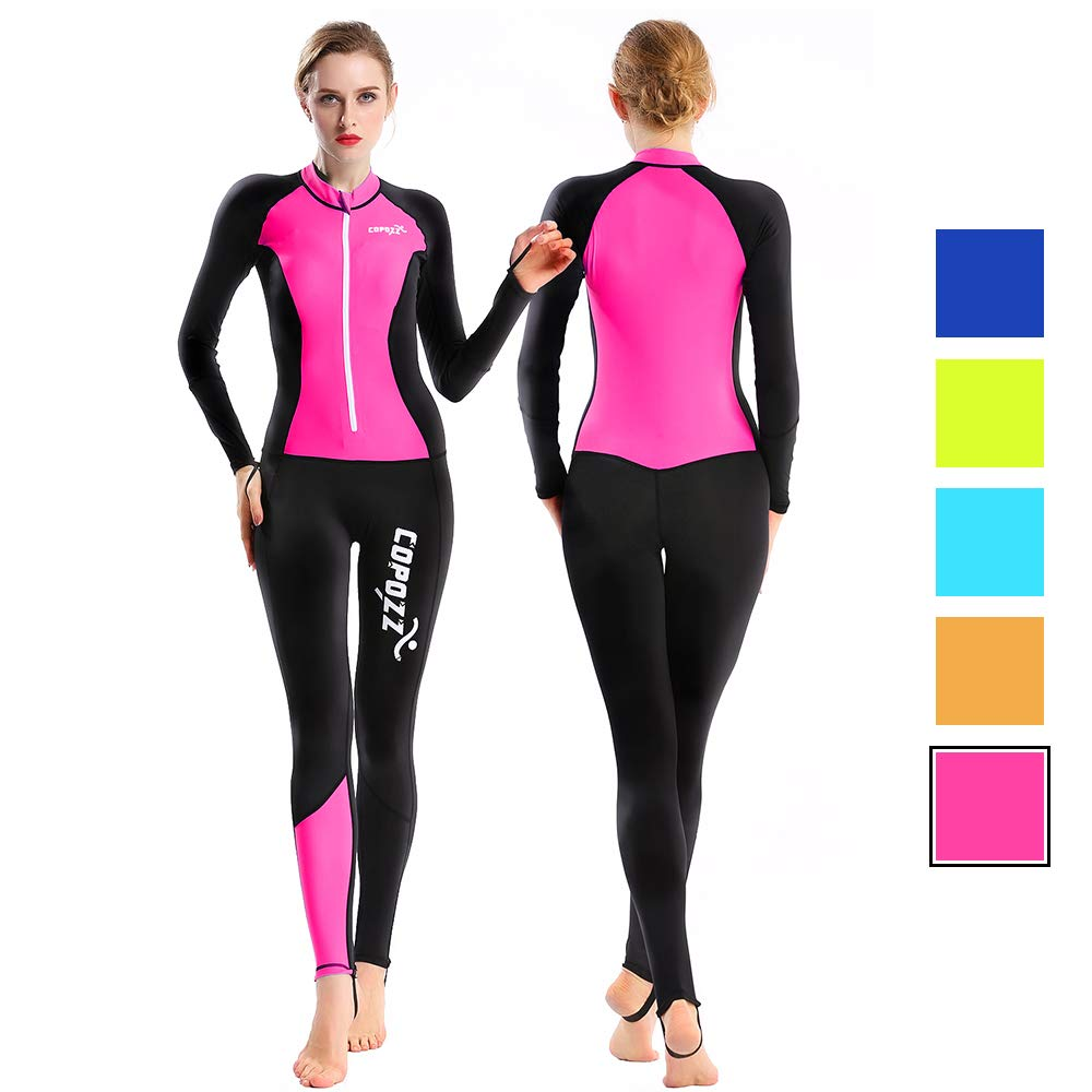 COPOZZ Rash Guard, Full Body Thin Wetsuit, Lycra UV Protection Long Sleeves Dive Skin Suit - for Swimming/Scuba Diving/Snorkeling/Surfing- One Piece for Men Women (Black/Hot Pink, Small for Women)