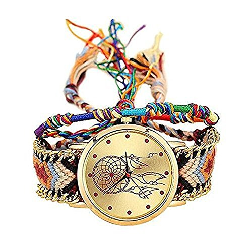 MINILUJIA Adjustable Dreamcatcher Watch Dream Catcher Handmade Rope Bracelet Bohemia Style Women's Watches with Free Colorful Rope Bracelet from MINILUJIA