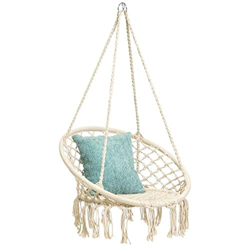 Sonyabecca Hanging Cotton Rope Macrame Hammock Chair Macrame Swing 200 Pound Capacity Handmade Knitted Hanging Swing Chair for Indoor Outdoor Home Patio Deck Yard Garden Reading Leisure Lounging